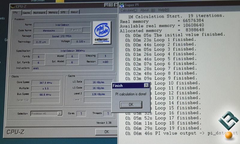 Intel Celeron 366MHz CPU Running Super Pi on Windows 98 - Legit Reviews
